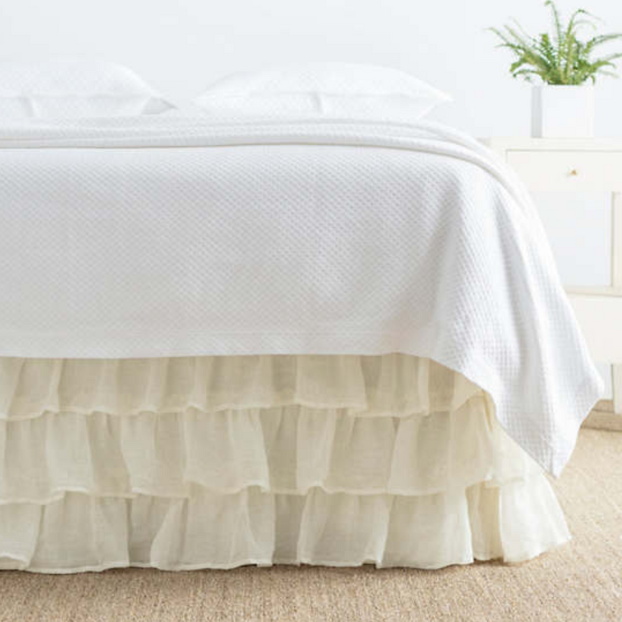 Savannah Linen Tiered Bed Skirt - Revibe Designs