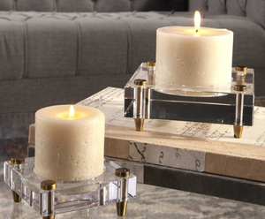 Claire Crystal Block Candle Holders Set of 2 - Revibe Designs