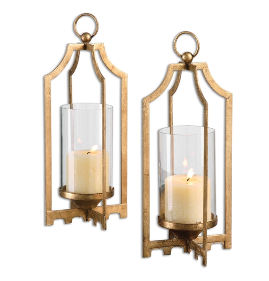 Lucy Gold Candle Holder Set of 2 - Revibe Designs