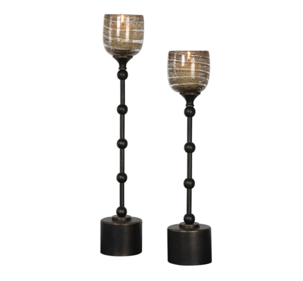 Lula Oil Rubbed Bronze Candle Holder Set of 2 - Revibe Designs