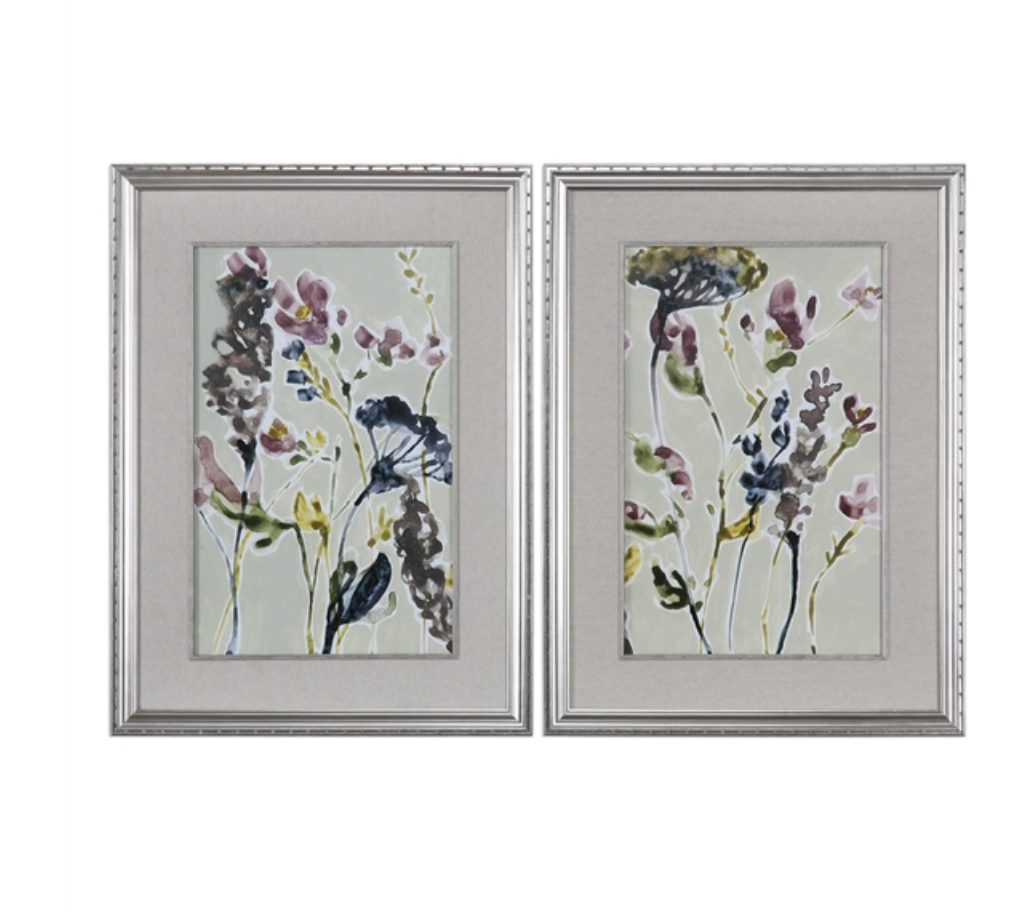 Parchment Flower Art Set of 2