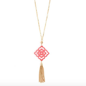 Resin Pendant with Tassel Necklace