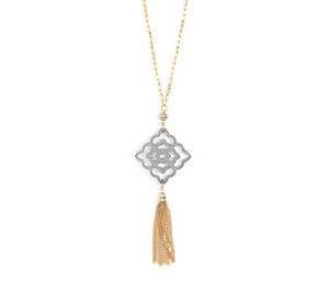 Resin Pendant with Tassel Necklace - Revibe Designs