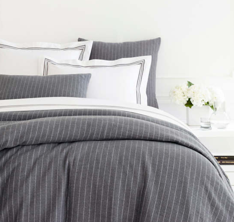 Chalk Stripe Matelasse Duvet Cover - Revibe Designs