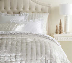 Radiance Velvet Dove White Quilt/Coverlet