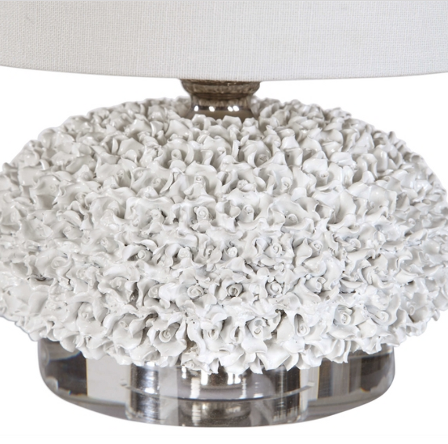 Dellen White Floral  Lamp - Revibe Designs