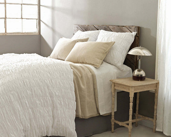 Smocked White Duvet Cover - Revibe Designs