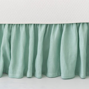 Stone Washed Linen Paneled Bed Skirt - Revibe Designs
