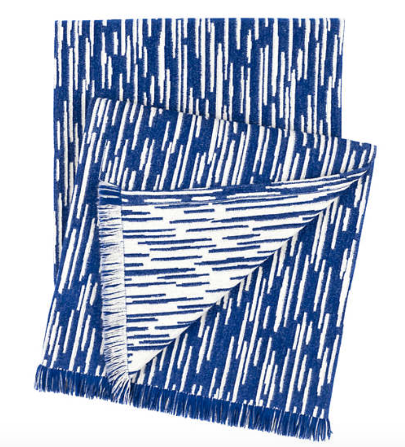 Corinth Chenille Blue Throw - Revibe Designs