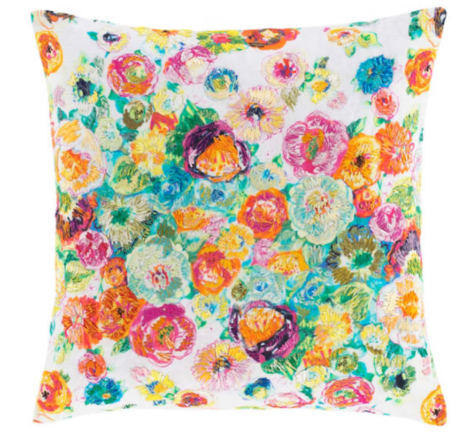 Flower Shower Embroidered Pillow - Revibe Designs