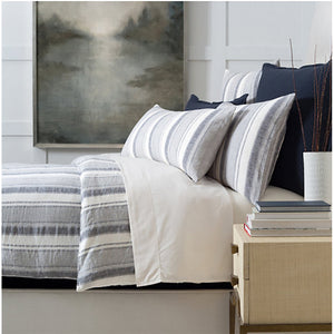 Hampton Ticking Indigo Linen Duvet - Revibe Designs