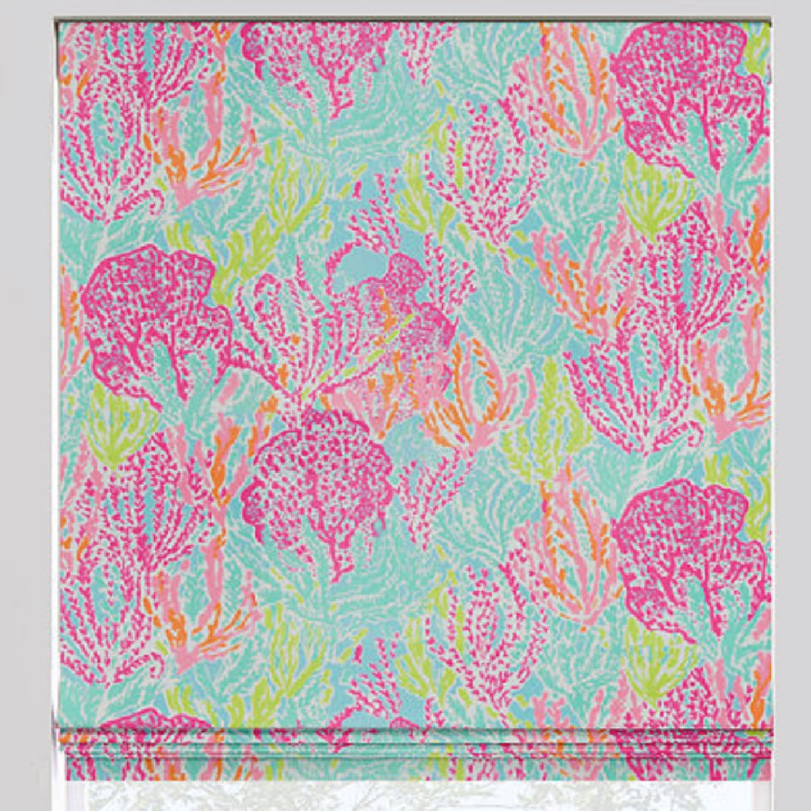 Coral Reef Flat Roman Shade - Revibe Designs
