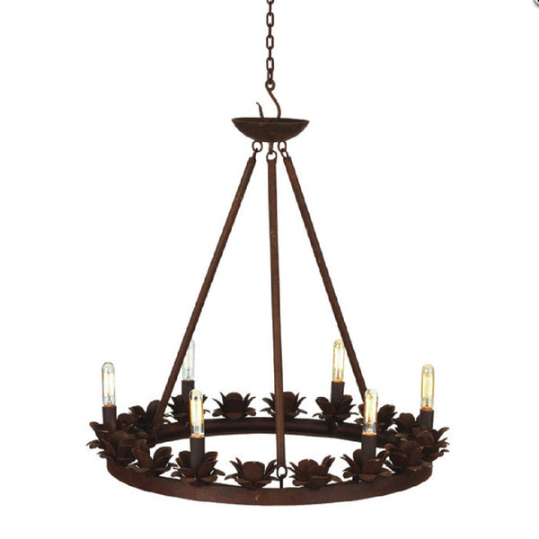 Rustic Metal Rose Chandelier
