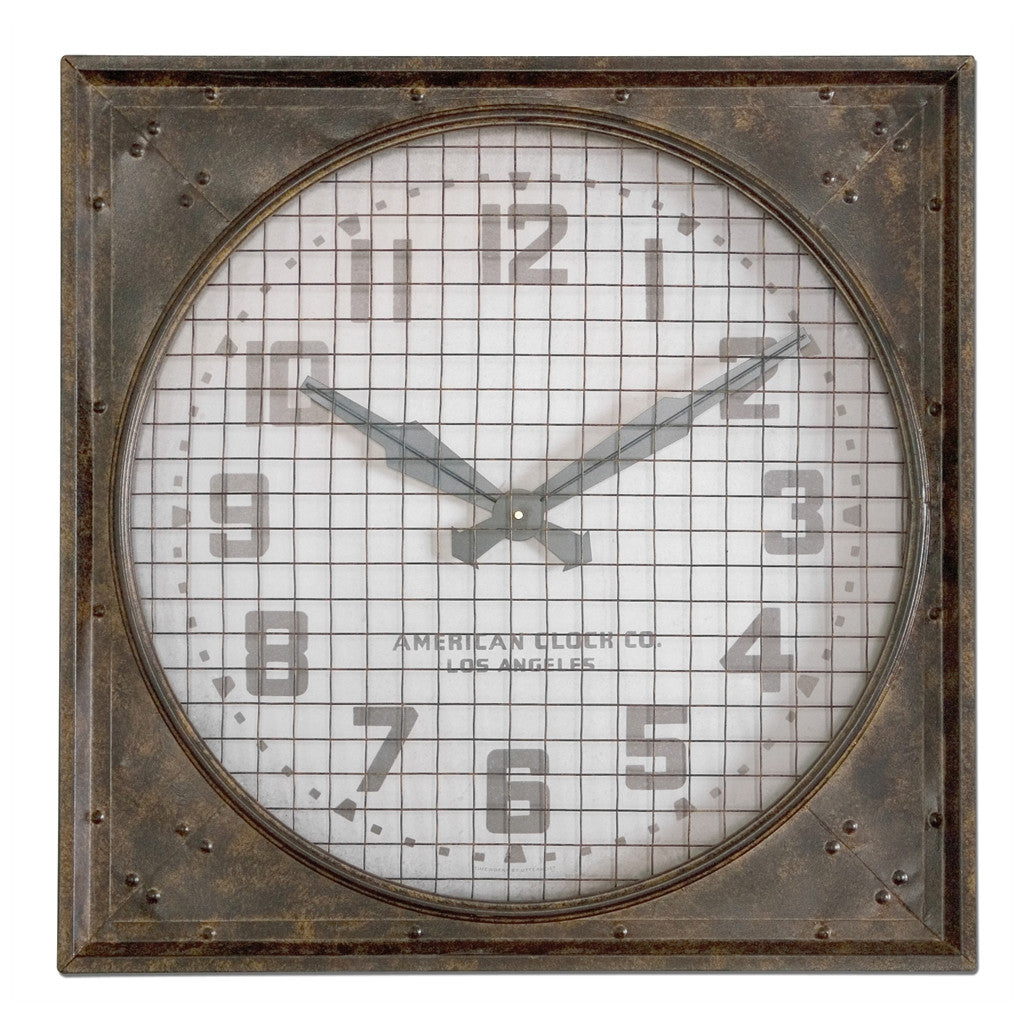Warehouse Wall Clock with Iron Grill