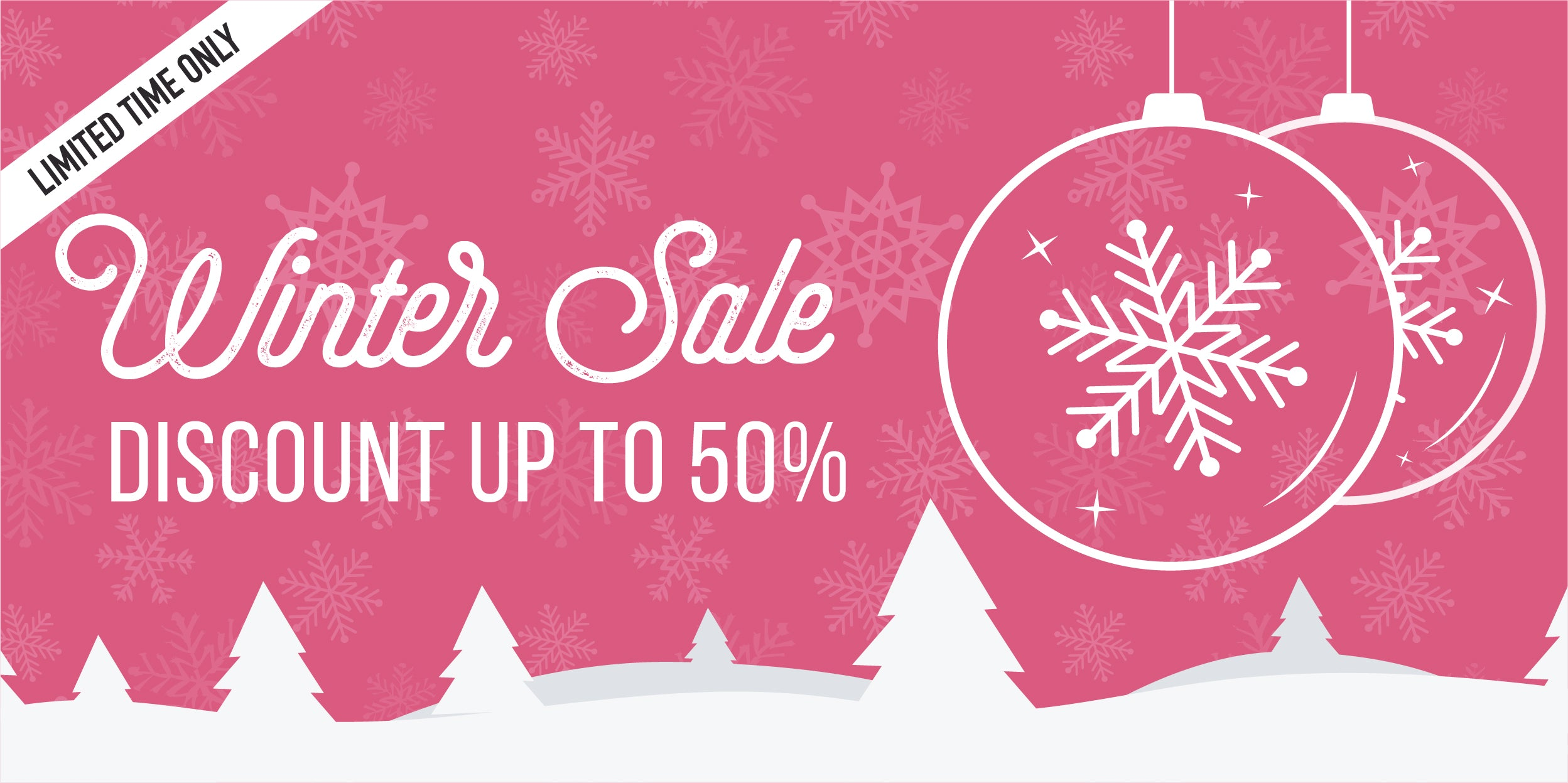 winter sale written in cursive.  discount up to 50% off.