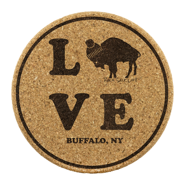 Set of 4 Buffalo Love Rock Salt Life Cork Coasters