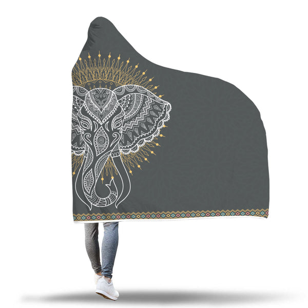 Henna Inspired Elephant Hooded Blanket