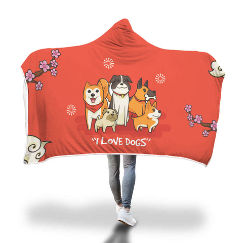 Cozy I Love Dogs Hooded Blanket