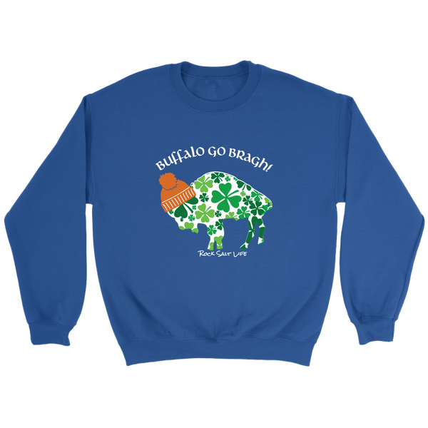 White Lettered Buffalo Go Bragh! Rock Salt Life© Crewneck Sweatshirt