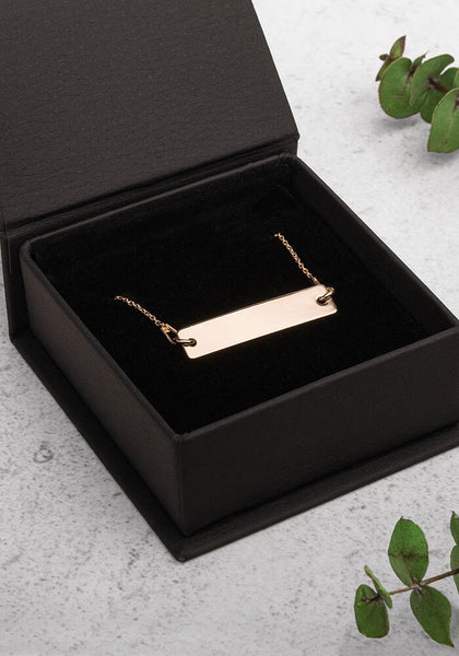 Engraved Sterling Silver Bar Chain Necklace