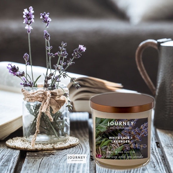 White Sage and Lavender Journey Soy Wax Candle