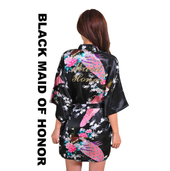 Black Maid of Honor Kimono Robe