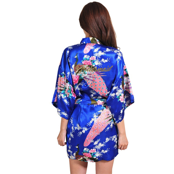 Satin Kimono Robes for Bride and Wedding Party Maid of Honor Bridesmaid