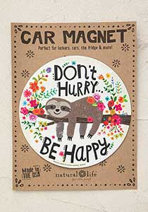 Don't Hurry Be Happy Sloth Circle Car Magnet