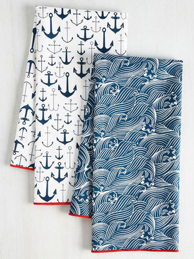 Anchors and Waves Tea Towels Set of Two
