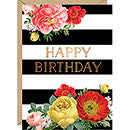 Floral Stripe Birthday Card - A6