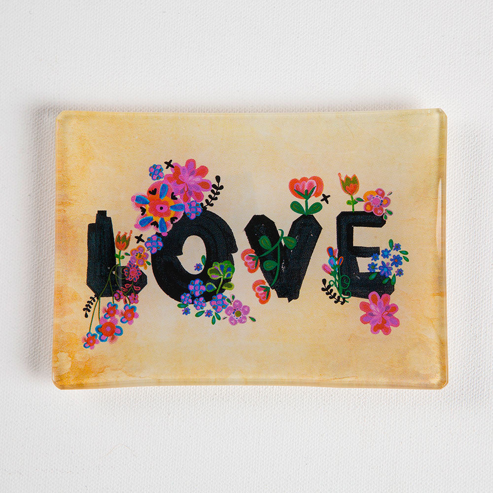 """LOVE"" Floral Glass Tray Keepsake"