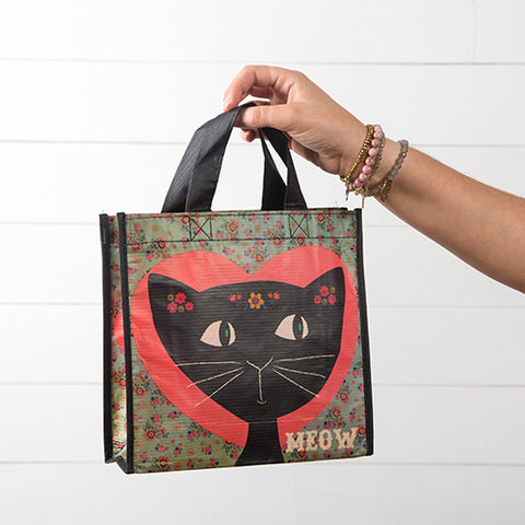 Black Cat Meow Medium Recycled Gift Bag
