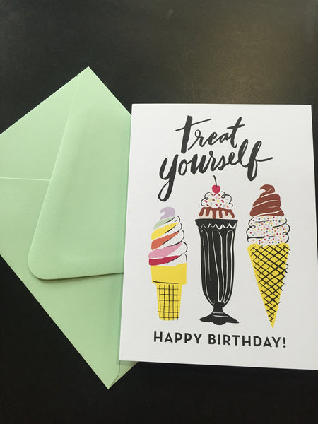 Happy Birthday Treat Yourself Birthday Card