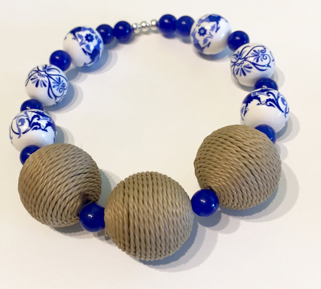 Rustic Delft Holland Blue Painted Ceramic Stretch Bracelet