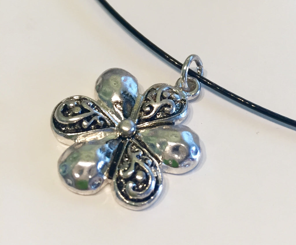 Flower Power Memory Wire Necklace Coated- 18""
