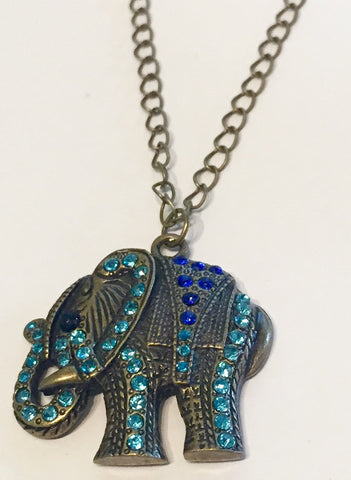 Luck of the Elephant Necklace with Swarovski Accents and Oxidized Brass