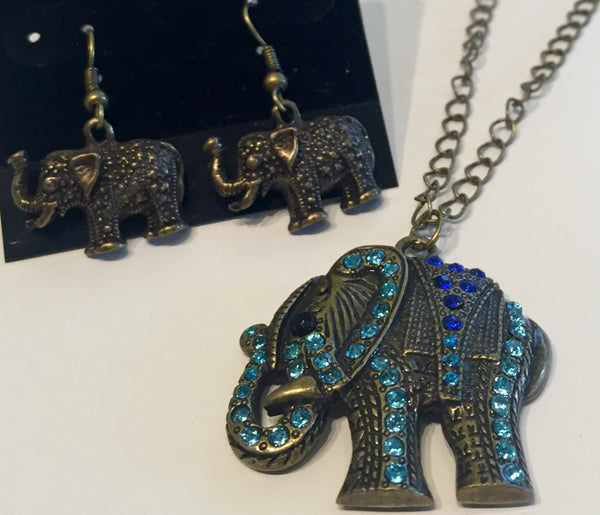 Luck of the Elephant Earrings Oxidized Brass