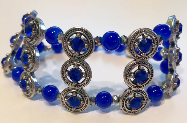 Blue Dahlia Stretch Cuff With Glass Beads and Crystals