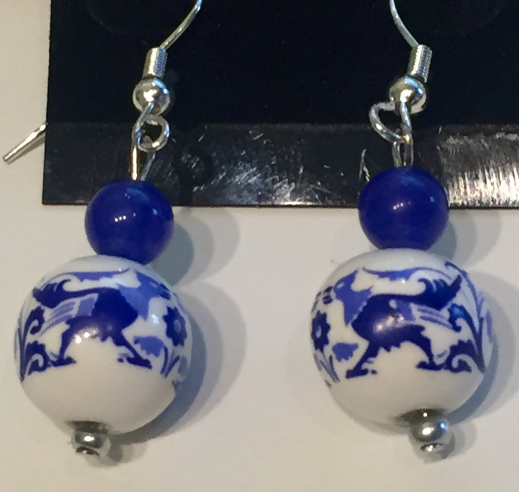 Delft Punk Holland Blue Painted Ceramic Earrings