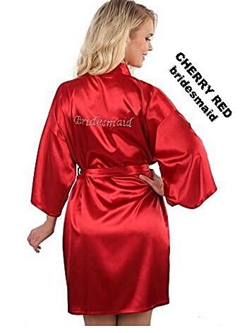 9c35157f7d Rhinestone Embellished Silky Satin Kimono Dressing Robe for Bride ...