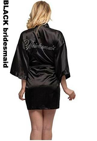 Rhinestone Embellished Silky Satin Kimono Dressing Robe for Bride, Bridesmaids, and Wedding Party