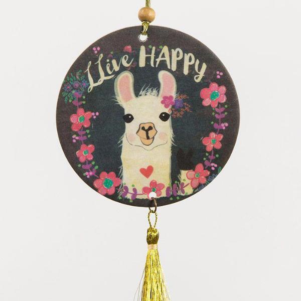 Live Happy Llama Car Air Freshener