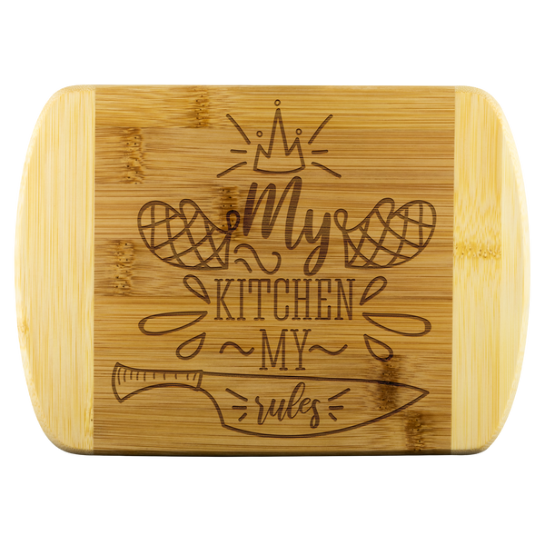 My Rules My Kitchen Wooden Cutting Board-FREE SHIPPING