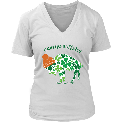 Erin Go Buffalo Rock Salt Life St. Patricks Day Womens V-Neck T-Shirt
