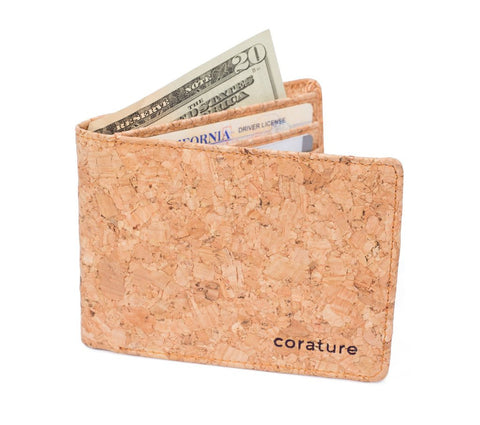 Natural Cork 6 slot Bi-Fold Lightweight Wallet