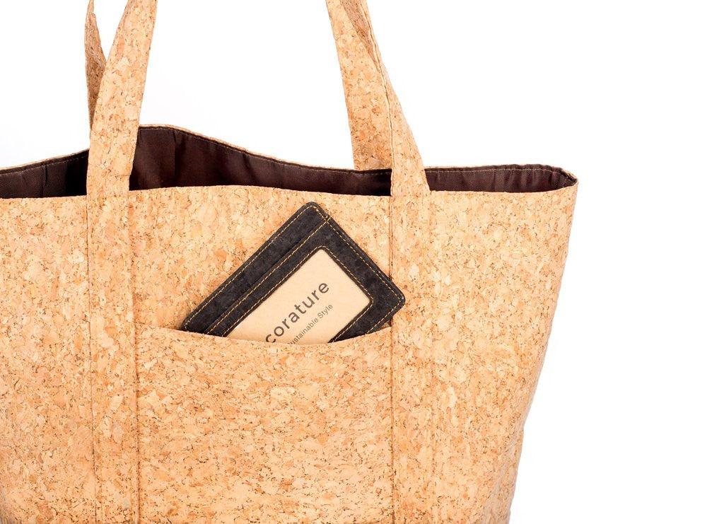 Natural Cork Totebag with Rear Pocket and Bamboo Logo