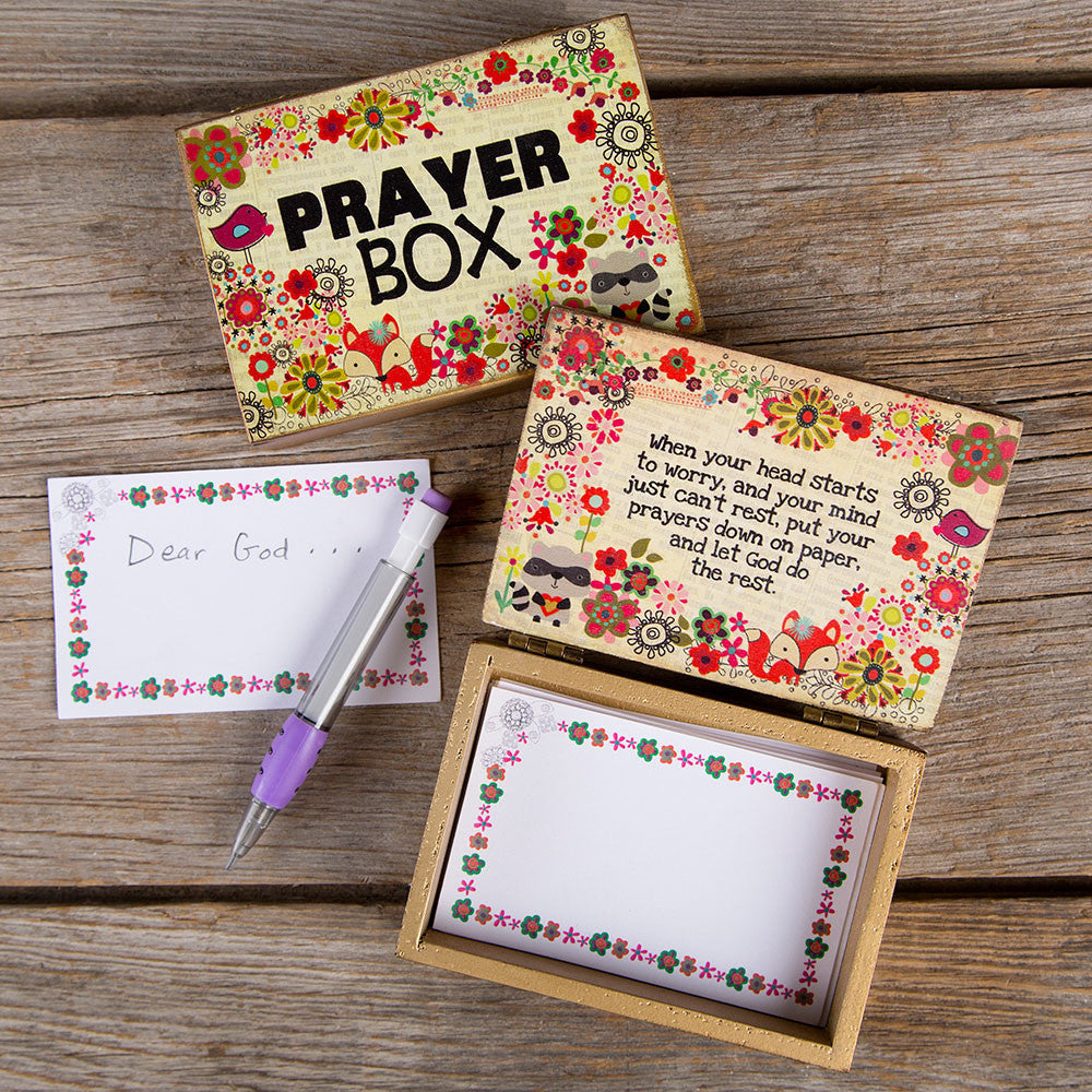 newsprint fox wooden prayer box