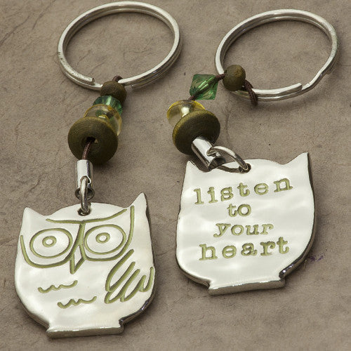 listen to your heart owl keychain