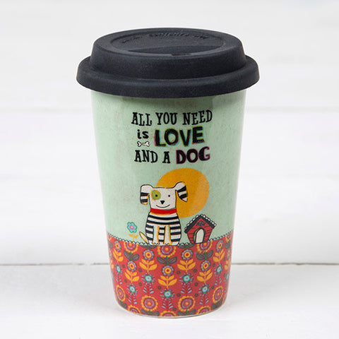 love and a dog thermal mug