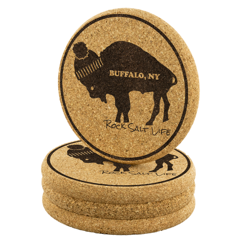 Set of 4 Buffalo Rock Salt Life Cork Coasters